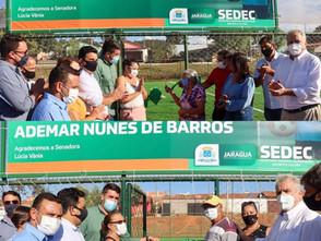 Paulo Vitor, Secretário de Esportes e vereadores inauguraram dois campos society em Jaraguá