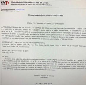 Ministério Público de Jaraguá alugará prédio para sede própria e abre concorrência