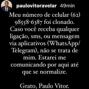 Prefeito de Jaraguá, Paulo Vitor avisa que teve celular clonado por criminosos