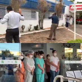Conselho de Ministros Evangélicos faz oração em frente ao hospital de Jaraguá