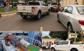 Após acidente em frente a Hotel em Jaraguá motociclista é internado com fratura