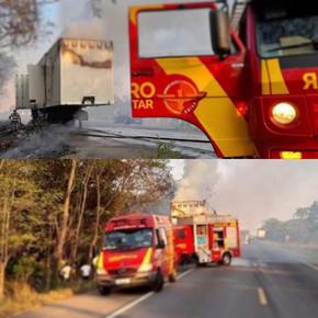 Corpo de Bombeiros combate chamas em carreta na BR-153 em Jaraguá