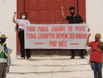 Protesto da esquerda em Jaraguá contra Bolsonaro reúne cinco pessoas