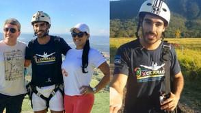 Promovendo o Caminho de Cora, ator da Globo faz voo de parapente em Jaraguá