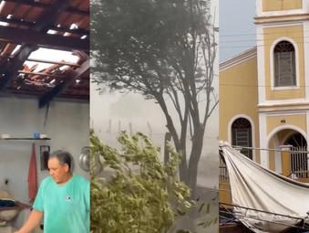 Chuva com ventos fortes fazem estragos no Distrito de Vila Aparecida em Jaraguá