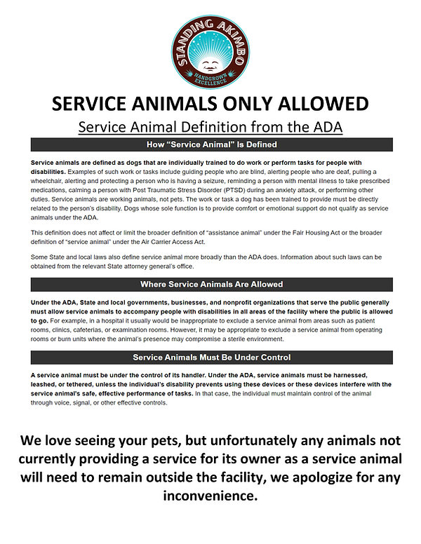 SERVICE ANIMALS ONLY ALLOWED Document 5.