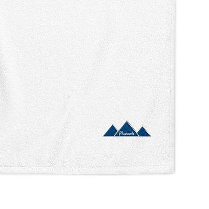White & Blue Embroidered Logo Turkish cotton towel