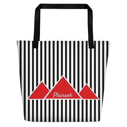 Black & White Referee Beach Bag With Red TriPyramid Pharaoh Logo