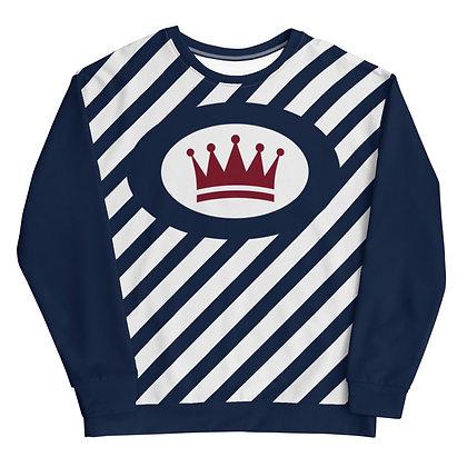 Diagonal Navy & White Striped Unisex Sweatshirt