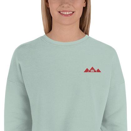 Dusty Blue Crop Sweatshirt w/ Embroidered Logo