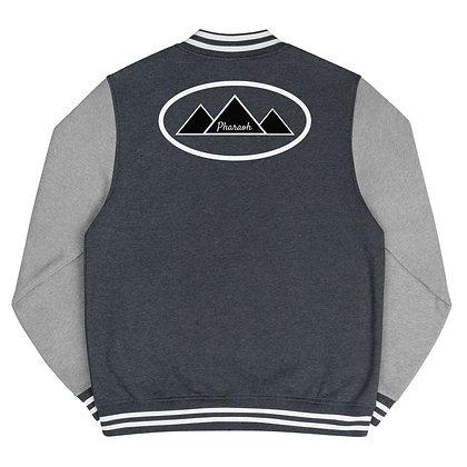 Black & White TriPyramid Logo Men's Letterman Jacket