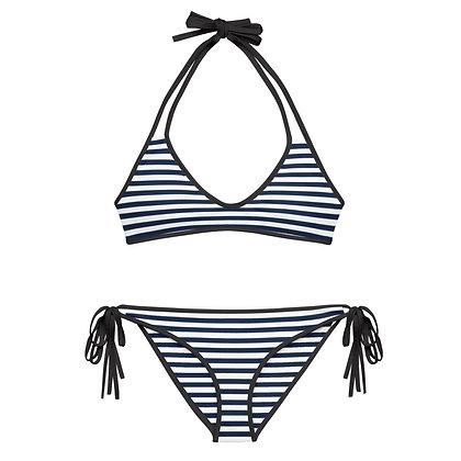 Manasquan Horizontally White Striped Navy Bikini