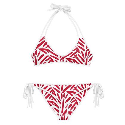 Red & White Plumeria Leaf Pattern Bikini