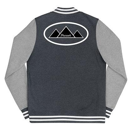 Black & White Encircled TriPyramid Logo Women's Letterman Jacket
