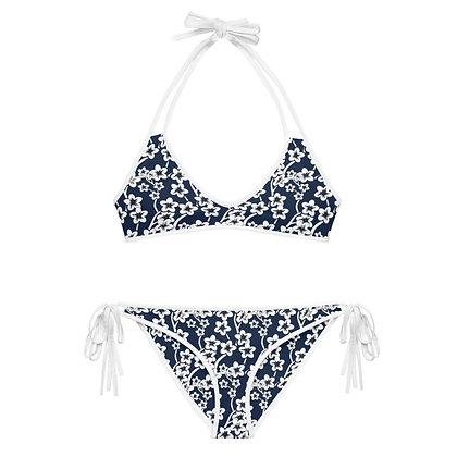 Navy & White Floral Bikini