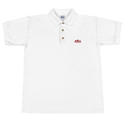 White Pharaoh Alt Logo Embroidered Polo Shirt