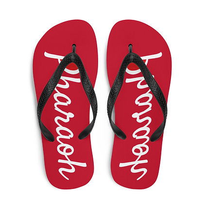 Red Champion Style Logo Text Flip-Flops