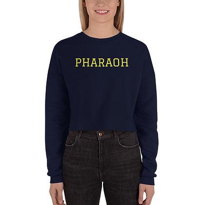 Navy Crop Sweatshirt With Yellow Pharaoh Logo Print