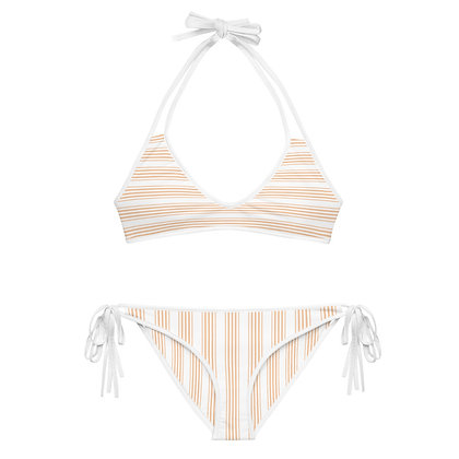 Beige & White Heavily Striped Bikini