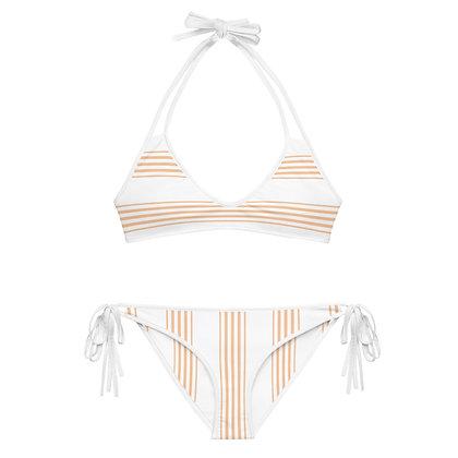 Beige & White Striped Bikini