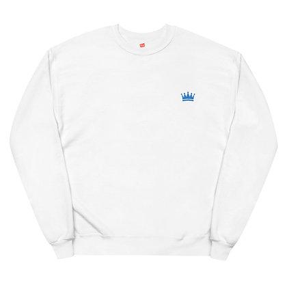 Aqua Left Chest Embroidered Crown Logo Unisex Fleece Sweatshirt