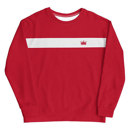 White Striped Red Crown Unisex Sweatshirt