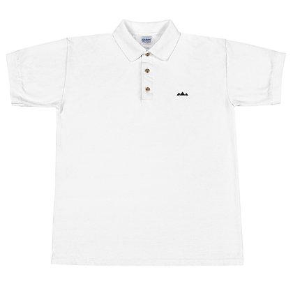 White With Black TriPyramid Logo Embroidered Polo Shirt