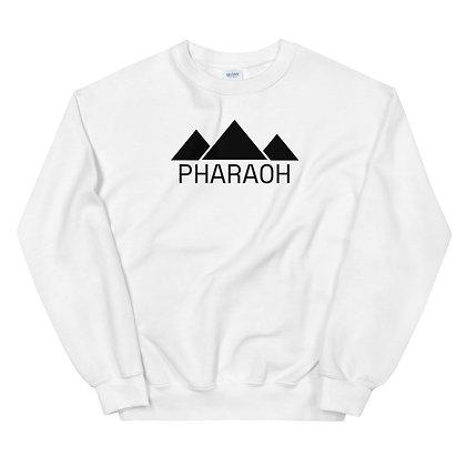 White Unisex Sweatshirt With Black Pharaoh Insignia