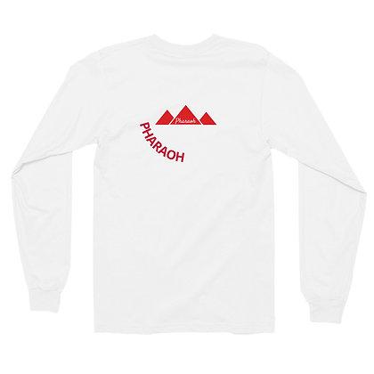 White Encircled Red TriPyramid Long sleeve t-shirt