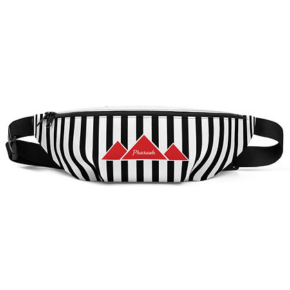 Black & White Referee Pattern With Red TriPyramid Logo Fanny Pack