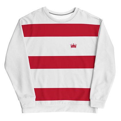 Red & White Horizontal Striped Unisex Sweatshirt
