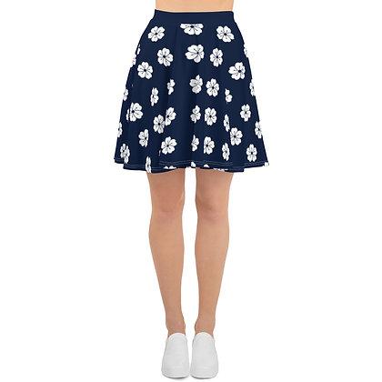 Navy & White Flower Pattern Skater Skirt