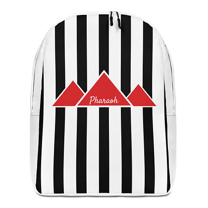Black & White Minimalist Backpack With Red TriPyramid Logo