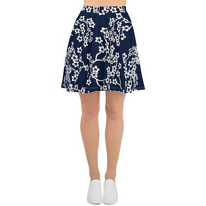 Navy & White Floral Skater Skirt