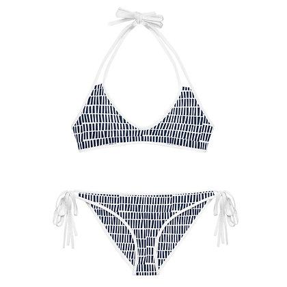 White & Navy Microblock Pattern Alexandria Bikini