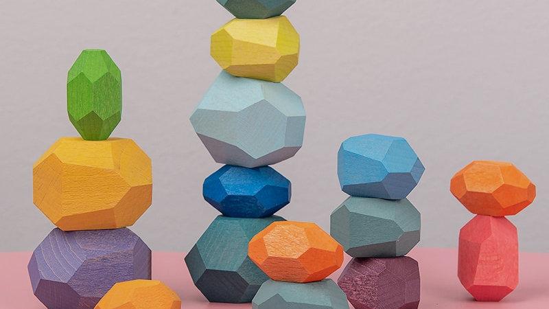 Children's Wooden Colored Stone Building Blocks