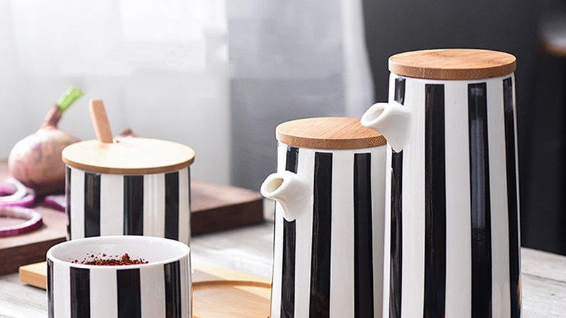 Black and White Stripe Ceramic Collection