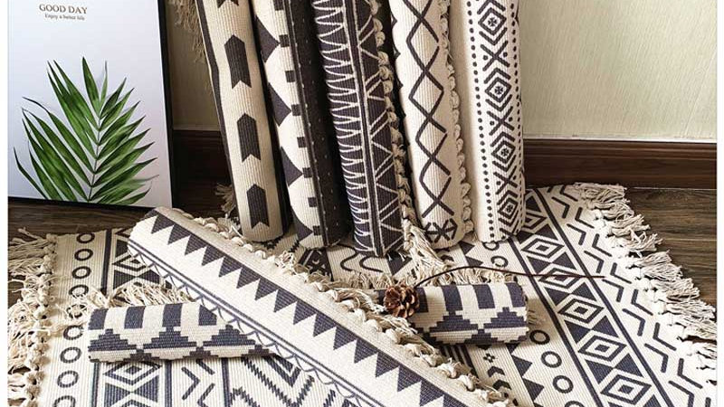 Scandi Cotton Soft Tassel Home Area Rug