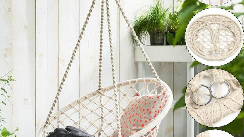 WOVEN Beige Cotton Hanging Chair