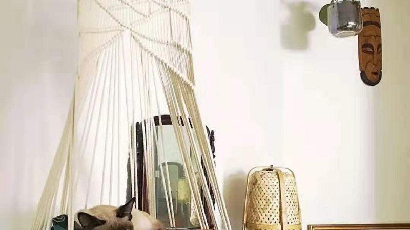 Unique Boho Handmade Macrame Cat Swing