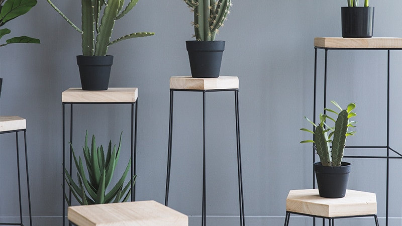 Geometric  Metal & Wood Accent Table