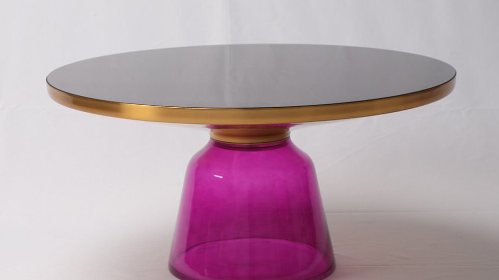 Hand Blown Glass Coffee Table - Gold & Purple