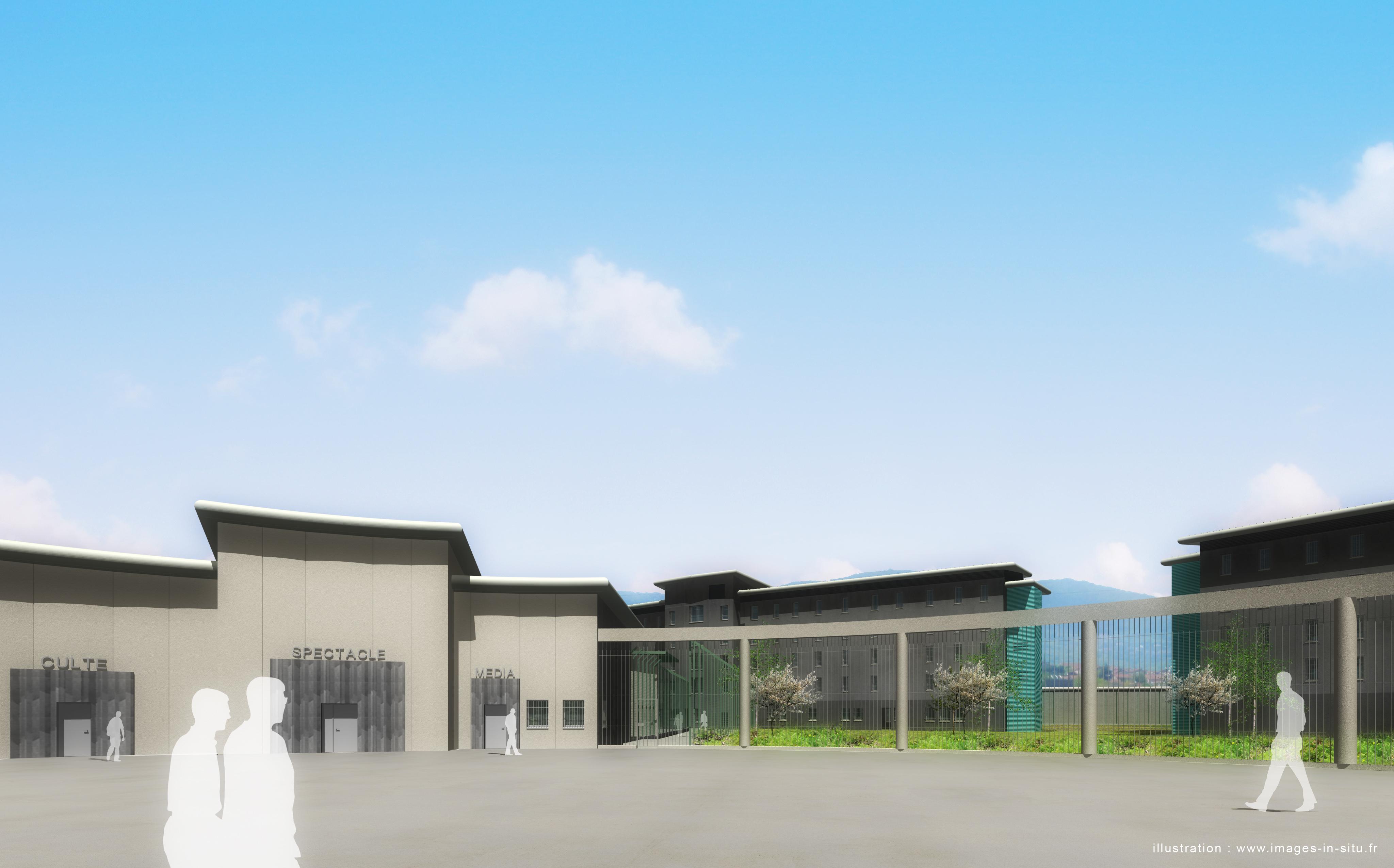 IIS - 2014-06-05 - RENDU FINAL - 3D - CENTRE PENITENTIAIRE - RIOM - VUE COUR SUR