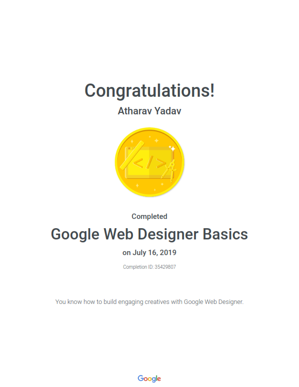 Google Recognized as Google Web Designer