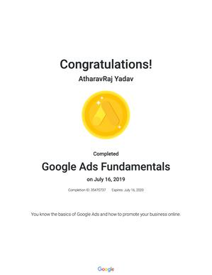 Google Certified as Google Ads Fundamentals