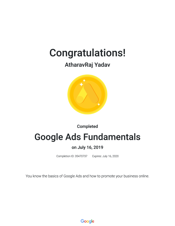 Google Certified as Google Ads Fundamentals