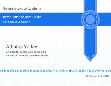 Certificate of Completion of Data Studio Course