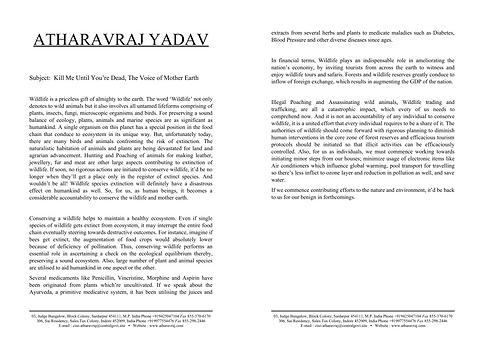 Article on Wildlife Conservation | AtharavRaj Yadav