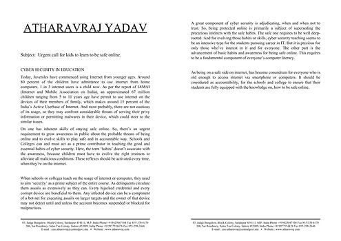 Article on Cyber Security Awareness | AtharavRaj Yadav
