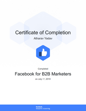 Completed Certification on Business to Business (B2B) Marketing by Facebook